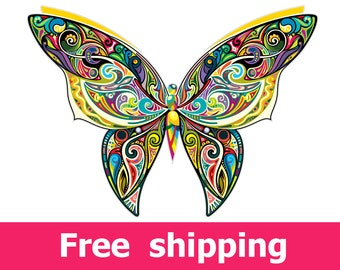 abstract butterfly wall decal, colorful butterfly wall sticker, butterfly decal nursery poster butterfly print gift butterflies art [FL063]