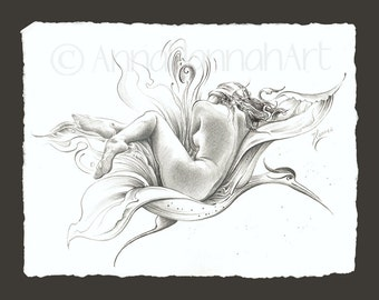 fantasy flower flying bird flight erotica nude beautiful woman freedom sky space mystery magical nature akt pencil drawing fine art giclee