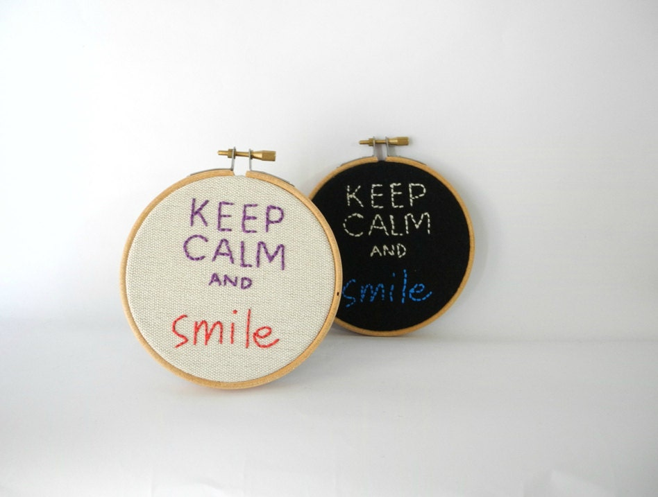 Keep Calm And Smile Hoop Wall Art4 Embroidery Hoop Home