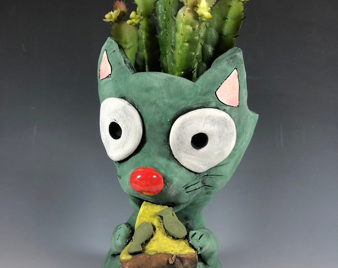 Pizza Cat // Hungry Cat // Kitty Planter // Succulent Pot // Small Sculpture // Ceramic // Unique // Adorable // Turquoise // Anchovies