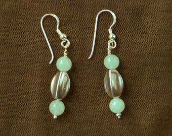 """Earrings (clips, hooks, lever) jade collection """"Distant Asia"""" Burmese pale green jade and antique silver beads"""