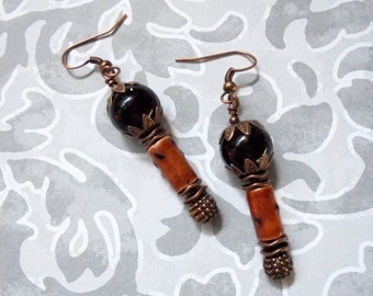 Black, Rust and Copper Spotted Boho Earrings (2884)