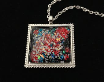 Silver, Red, and Blue Glitter Glass Pendant Necklace 030