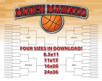 March Madness PRINTABLE Basketball Bracket Chart in FOUR SIZES - Digital - Instant Download!