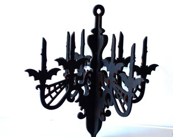 Wood chandelier Gothic Wedding Hanging Home Decor Hanger Mobile Store front display halloween Party candelabrum Wooden mobile frame