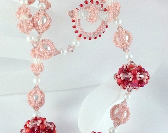 Be My Valantine Beadwoven Necklace...EBW Team...red...pink...pearl...beaded bead...swarovski crystal