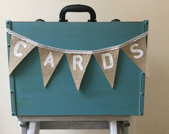 Shabby chic Hessian Cards wedding bunting Hand Made in UK