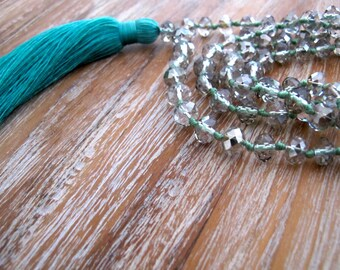 Tassel Necklace- Chunky Long Tassel, Long Crystal Beaded