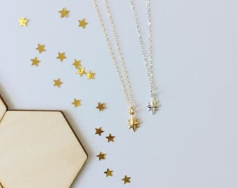 North Star Necklace, polaris, constellation, dainty, gift, gold sterling silver, celestial, luminous, sky, star jewelry, heavenly, night sky