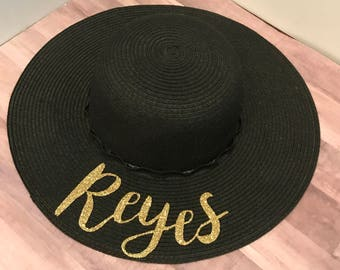 Last Name Hat I Custom Hat I Floppy Hat I Custom Floppy Hats I Sun Hats I Bachelorette Party Accessories l Honeymoon Hats l Bride to Be l