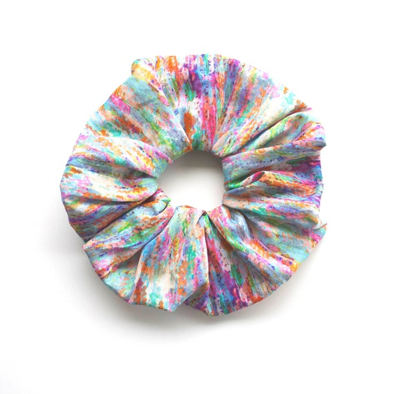 IMPRESSIONIST scrunchy. Large Scrunchy or Scrunchie. Bright Hair Scrunchies. Women Hair Accessories, Retro Accessory