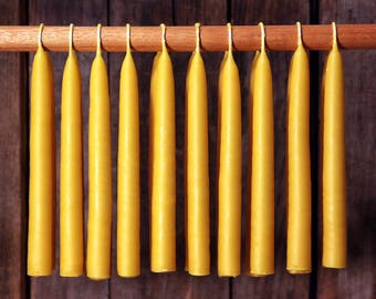 Beeswax Candles - Hand Dipped 100% Beeswax Tapers Settler's Candles - 36 Count -- Free Shipping