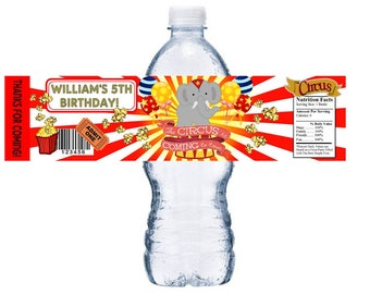 CIRCUS Printable Downloadable Water Bottle Labels Wrappers Birthday Party Favors EMAIL PDF Digital Download