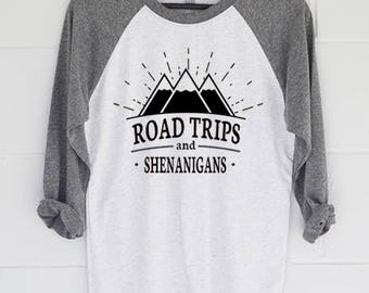 Road Trip Shirt, Road Trips & Shenanigans Baseball T-Shirt.  Womens Top. Raglan Shirt.  Slouchy Tee.  Gift