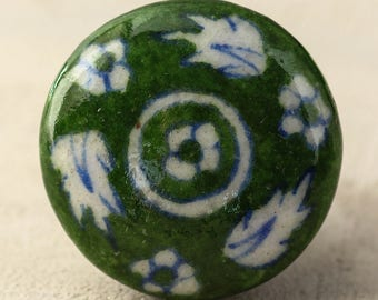 3 Green and White Floral Ceramic Cabinet Knob