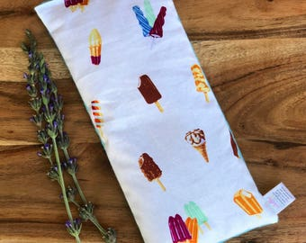 Reusable Hot Pack - Gift for Child - Microwave Bean Bag - Boo Boo Bag - Bean Bag Heating Pad - Sensory Toy - Flax Seed Heat Pad - Ice Cream