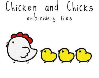Chicken and Chicks EMBROIDERY MACHINE FILES pattern design hus jef pes dst all formats bird spring Instant Download digital applique cute