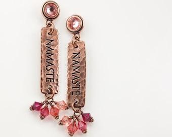 Copper Earrings for Women Namaste Jewelry Mindfulness Gift Yoga Earrings Copper Jewelry Crystal Earrings Bohemian Jewelry Dangle Earrings