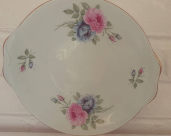 Stunning Vintage English Bone China Blue Floral Detail Bone China Cake Plate-Perfect for afternoon tea
