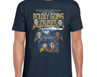 Boldly Going Cruises - T-Shirt SciFi Tee   Star Trek   Captain Kirk   Spock   Enterprise