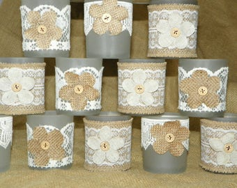 24 Frosted Votive Candle, LED or Tealight Holders with Burlap and Linen Flowers, Lace and Burlap, Great for Showers, Weddings, Parties