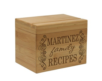 Personalized Recipe Box & Dividers, Wood Box Engraved Recipe Box, Mom Grandma Bridal Housewarming Gift  --28505-RB01-001