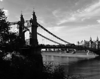 Hammersmith Bridge, Hammersmith, South West London, London Poster, Thames, Bridge Photo, Wall Art Bridge, Bridge Photograph, Square Format