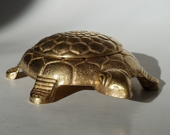Brass Turtle Trinket Stash Box Made in Italy, Vintage Decorative Brass Turtle Trinket Box, Vintage Home Brass Accents