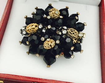 Vintage Black Crystal Brooch