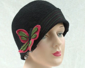 Black Cloche - Cloche with Butterfly - Cloche Hat - Black Hat - Hat With Butterfly Pattern - Hand Felted Hat