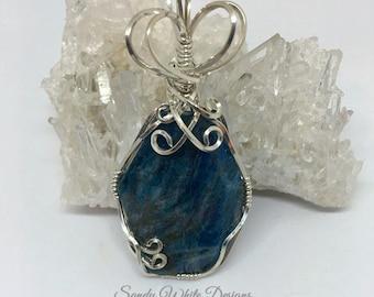 Blue Apatite Pendant Sterling Silver  Wire Wrapped    #sandywhitedesigns  #wirewrappedjewelry #wiresculptedjewelry