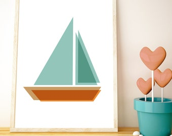 Sailing Boats // LOVE your walls by Fossdesign //  Instant Download Poster A3 // children's room nursery playroom kids