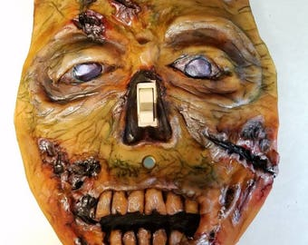 OOAK Zombie Single Toggle Light Switch Plate, Sculpture Wall Home Decor