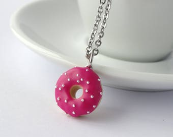 Miniature cute dark pink fuchsia icing with silver sprinkles donut charm necklace pendant kawaii sweet silly food jewelry