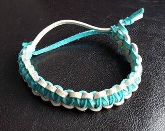 Bone & Teal Leather Survival Bracelet