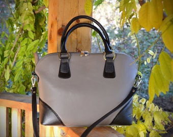 GRAY-BLACK Leather HANDBAG, Leather Tote Bag, Leather Shoulder Bag, Large Leather Bag, Womens Leather Bag, Laptop Leather Bag