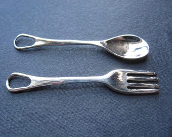 Solid Sterling Silver Fork and Spoon Charms findings