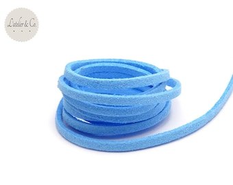 1 m blue 3mm x 1.5 mm suede cord