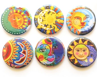 Sun and Moon Magnets, Refrigerator Magnets, Fridge Magnets,  Colorful Magnets, Sun Magnets, Decorative Magnets, Sun & Moon Magnets, Set of 6