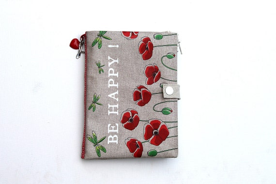 """Bag Organizer / multipoches illustrated linen poppies and dragonflies """"Be Happy!"""""""