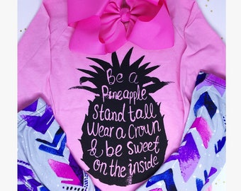 Girls Outfit Set Pineapple Shirt Girls Clothing Set