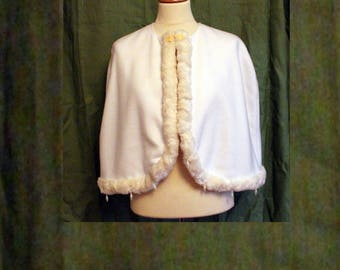 White Winter Snow Cape - Pearl embroidery - One-Size