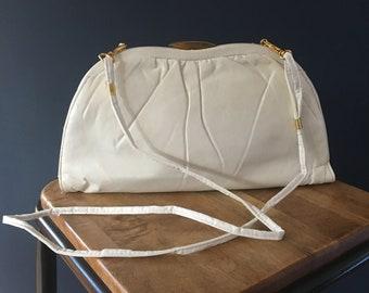 Vintage 80s white clutch bag