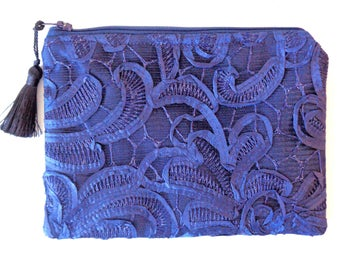 Blue Lace Clutch, Navy Clutch, Blue Clutch, Brides Purse, Bridal Clutch, Evening Bag, Bridesmaid Gift, Lace Purse, Mother's Day, Prom