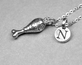 Chicken Leg Necklace, Turkey Leg Necklace, Drumstick charm, Personalized jewelry, initial necklace, monogram letter, antiqued, silver pewter