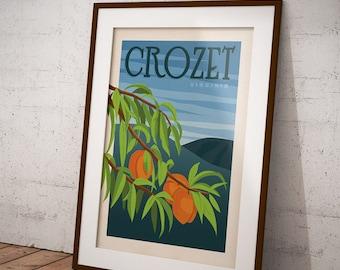 Crozet, Virginia Peach Orchard, Charlottesville Locale Retro Travel Poster