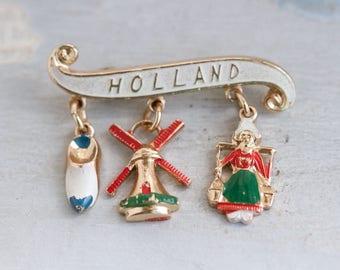 Holland Lapel Pin - Windmill Colg and Dutch Water Girl - Souvenir Brooch