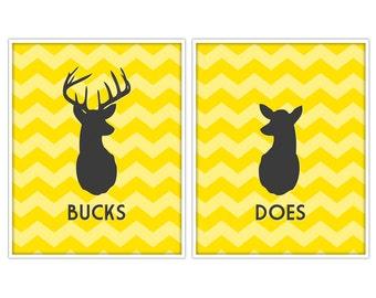 Does & Bucks Antler Prints - Deer Prints - Deer Art - Custom Color - 8x10