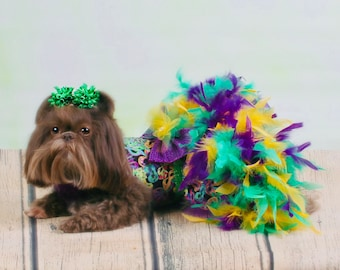 MARDI GRAS:  Feather and Tulle Party Dog Dress