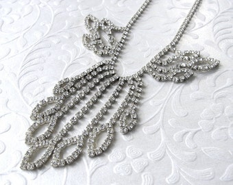 Chic Vintage Rhinestone Statement Necklace Waterfall Fringe Leaf Dangle Wedding Bridal Accessory Formal Ballroom Pageant Costume Jewelry